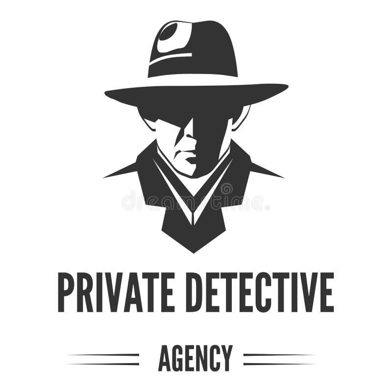 Logo för privat kriminalare av vektormannen i hatten för tjänste- byrå för utredning stock illustrationer