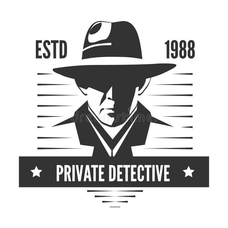 Logo för privat kriminalare av vektormannen i hatten för tjänste- byrå för utredning royaltyfri illustrationer