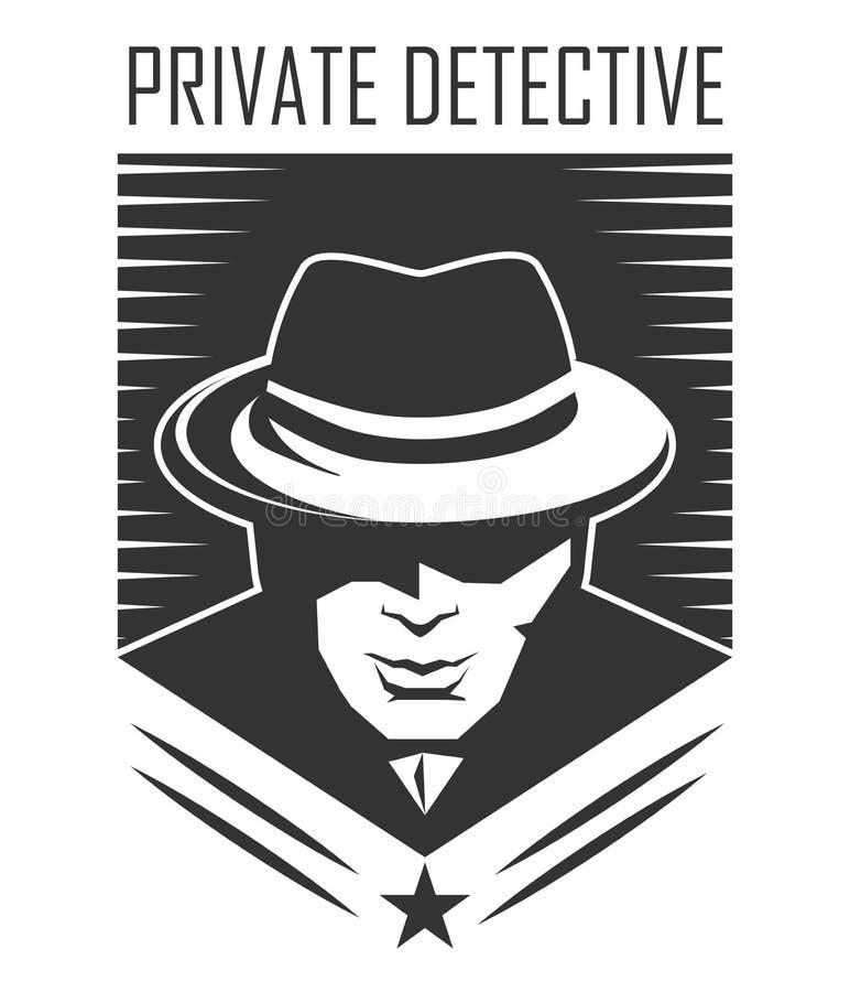 Logo för privat kriminalare av vektormannen i hatten för tjänste- byrå för utredning vektor illustrationer