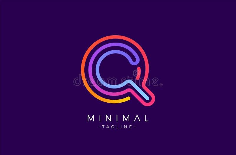 Logo för q-alfabetbokstav Abstrakt glansig färgrik mall för logotypvektordesign D vektor illustrationer