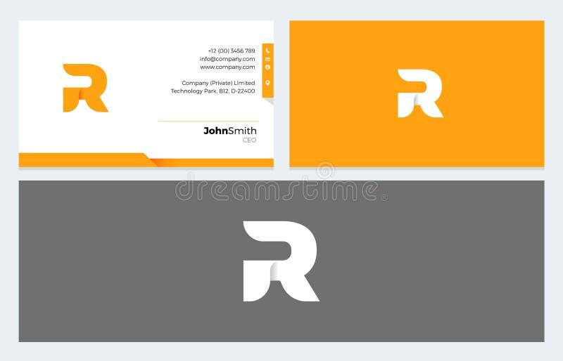 Logo för r-bokstavsorigami och mall för affärskort stock illustrationer