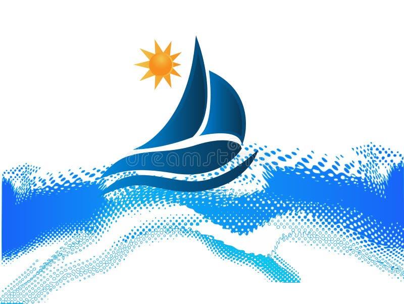 Logo för ram för strand för fartygvågor royaltyfri illustrationer