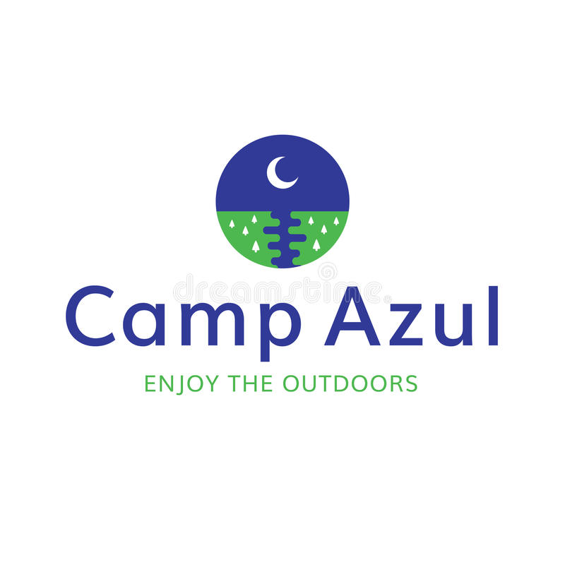 Logo för rekreation för lägermåne utomhus arkivbild