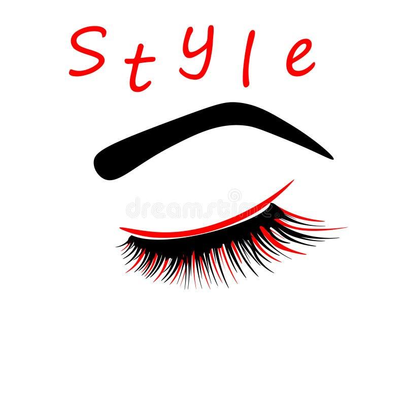 Logo för rengöringsdukögonfransförlängning Makeup med guld blänker Vektorillustration i en modern stil royaltyfri illustrationer