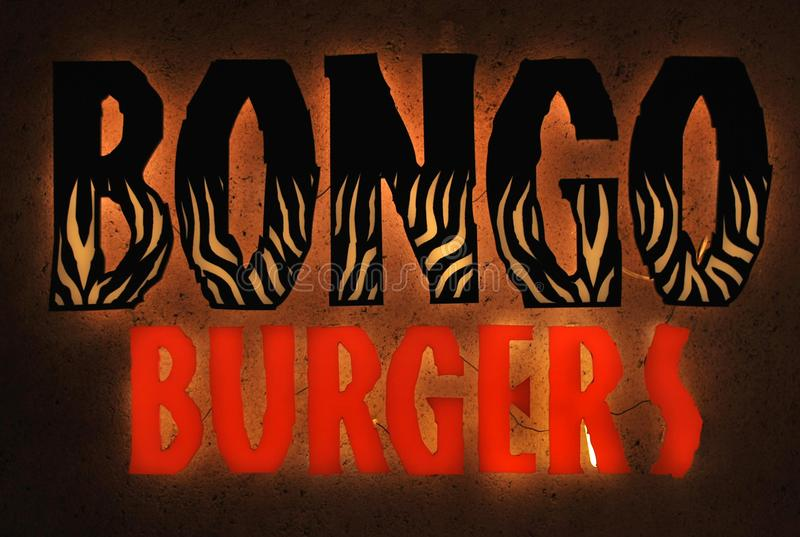 Logo för restaurang för Bongohamburgaresnabbmat royaltyfri fotografi