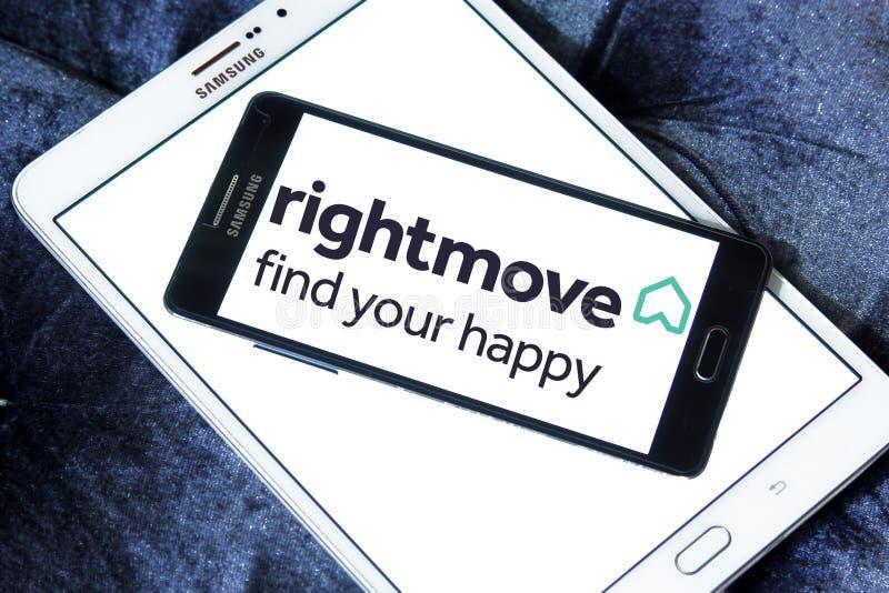 Logo för Rightmove fastighetföretag arkivfoto