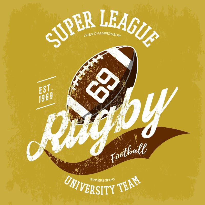 Logo för rugbyboll för t-skjortan som brännmärker design stock illustrationer