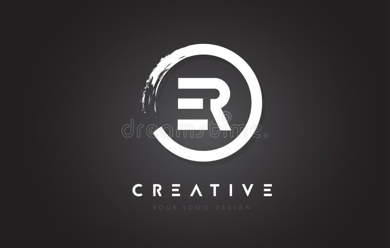 Logo för rund bokstav för ER med cirkelborstedesignen och svart Backg royaltyfri illustrationer