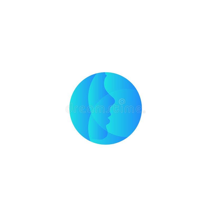 Logo för runda för plastikkirurgiföretagsvektor Abstrakt blåttframsidakontur Symbol för framsidaskönhetomsorg stock illustrationer