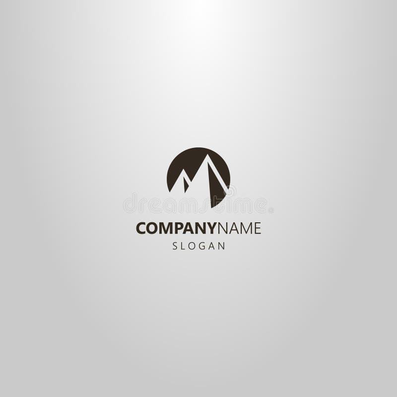 Logo för runda för utrymme för enkel konst för vektor plan negativ av två bergmaxima arkivbild