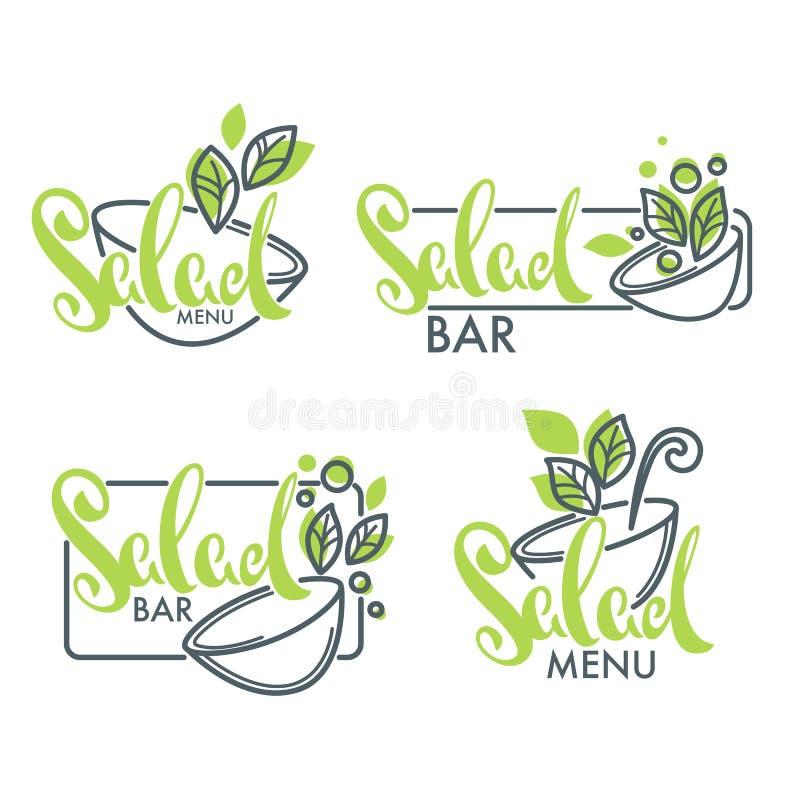 Logo för salladstång och meny, emblem och symboler som märker composi royaltyfri illustrationer