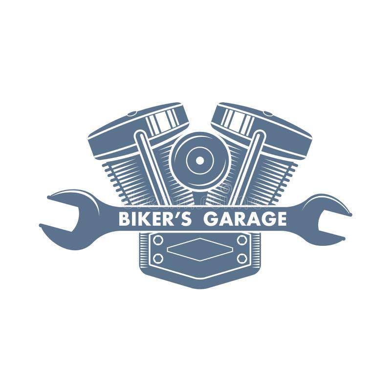 Logo för service för vektorcykelmotor royaltyfri illustrationer