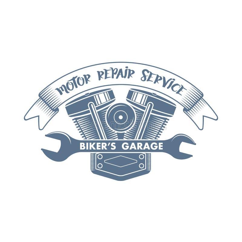 Logo för service för vektorcykelmotor stock illustrationer
