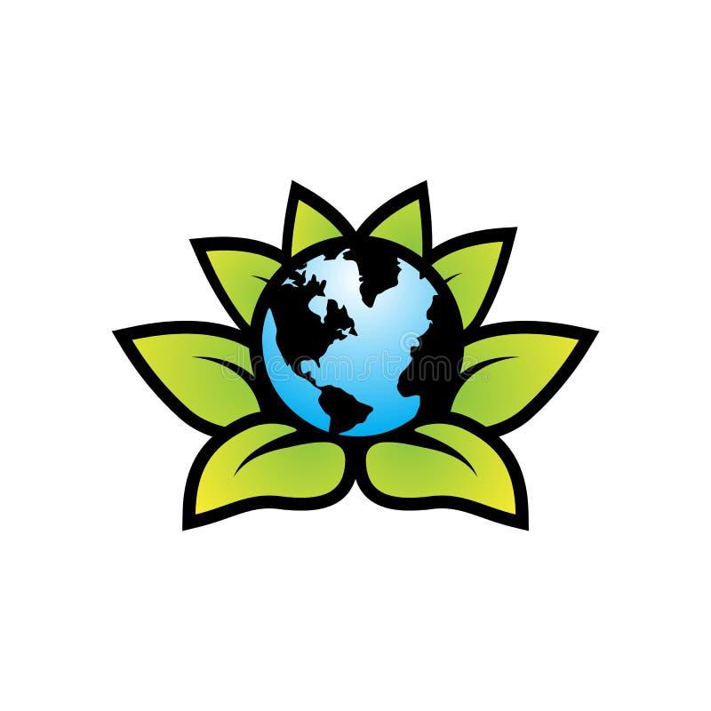 Logo för sidor för jordjordklotgräsplan stock illustrationer