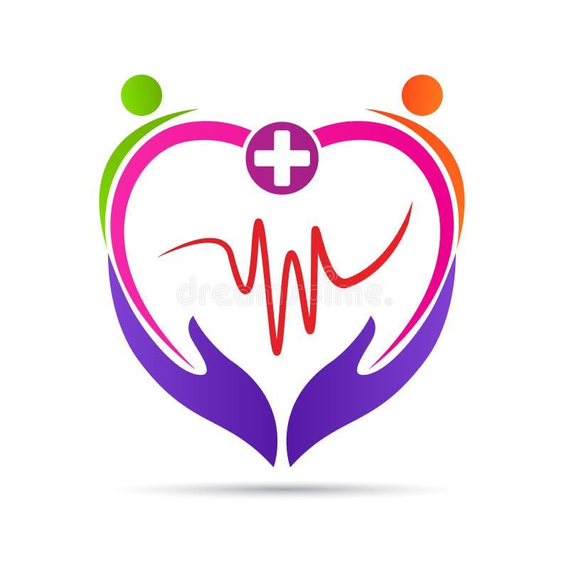 Logo för sjukvård för wellness för folkhjärtaomsorg vektor illustrationer