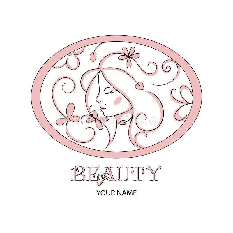 Logo för skönhetsalong Blom- profil av den unga härliga kvinnan Härlig logo Co för hår för brunnsort för skönhetsmedel för mall f stock illustrationer