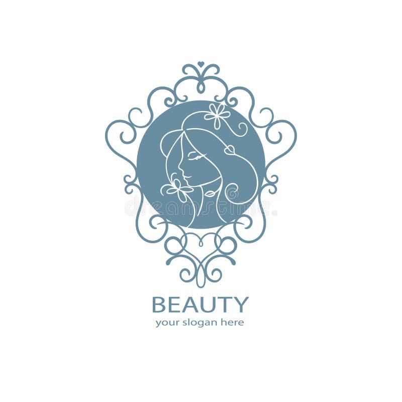 Logo för skönhetsalong Blom- profil av den unga härliga kvinnan Härlig logo Co för hår för brunnsort för skönhetsmedel för mall f royaltyfri illustrationer