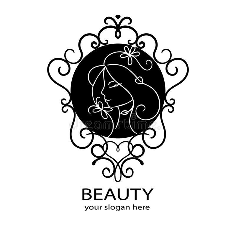 Logo för skönhetsalong Blom- ram av den unga härliga kvinnan Conc härlig logo för hår för brunnsort för skönhetsmedel för mall fö royaltyfri illustrationer