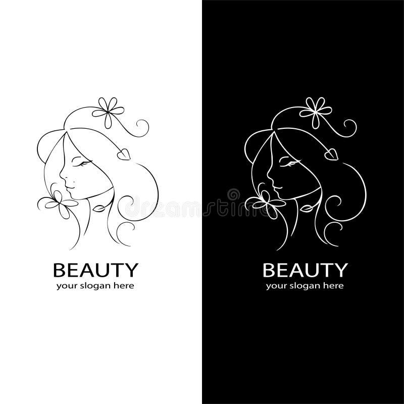 Logo för skönhetsalong Blom- ram av den unga härliga kvinnan Conc härlig logo för hår för brunnsort för skönhetsmedel för mall fö stock illustrationer