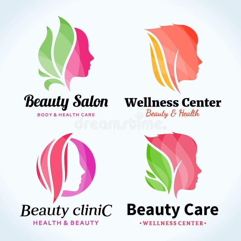 Logo för skönhetsalong, symboler och designbeståndsdelar vektor illustrationer