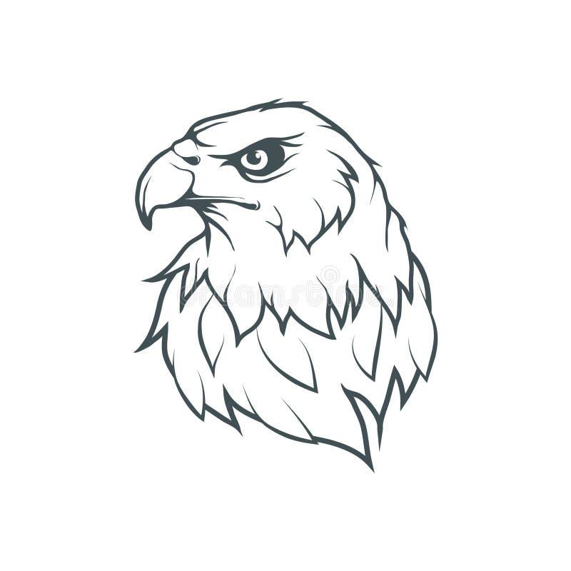 Logo för skallig örn Löst dra för fåglar vektor illustrationer