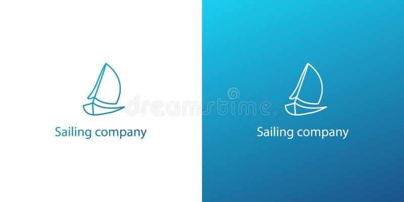 Logo för skepp för yacht för modern översikt för vektor blå marin- royaltyfri illustrationer