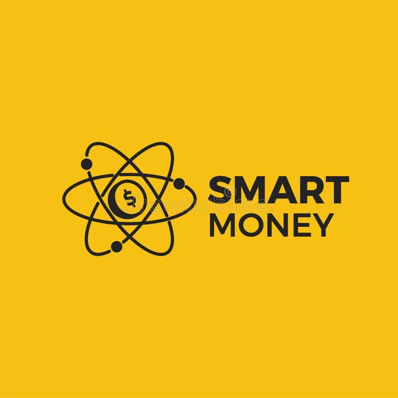 Logo för smarta pengar Investeringfinans Molekyl för guld- mynt stock illustrationer