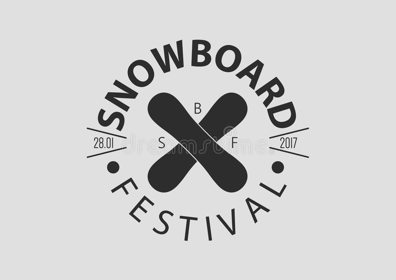 Logo för Snowboardtappningrunda, lägenhetdesign vektor illustrationer