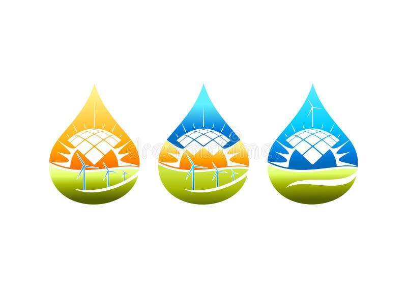Logo för sol- energi, väderkvarnsymbol, pumbvattenkraftsymbol och naturlig elektrisk begreppsdesign stock illustrationer