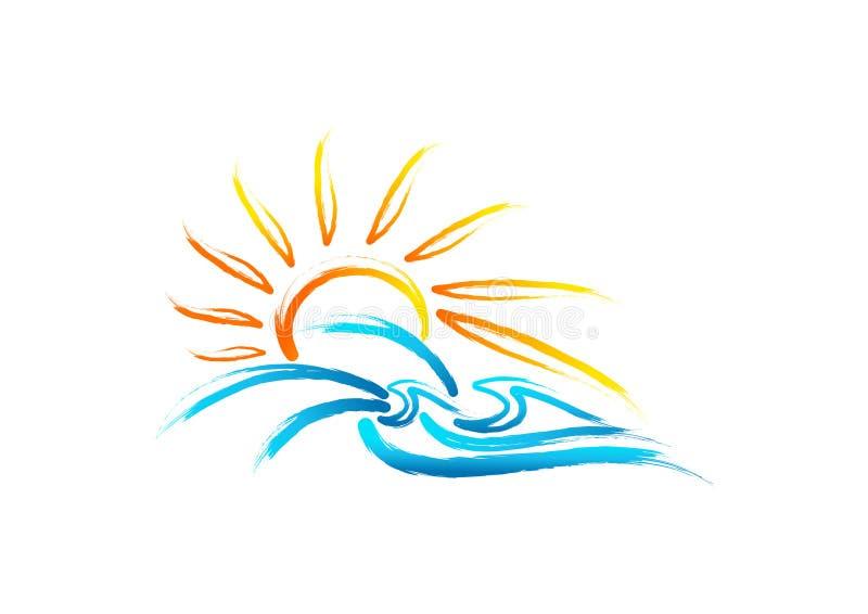 Logo för solhavsvåg, tappningsommarsymbol, marin- begreppsdesign för retro lös natur royaltyfri illustrationer