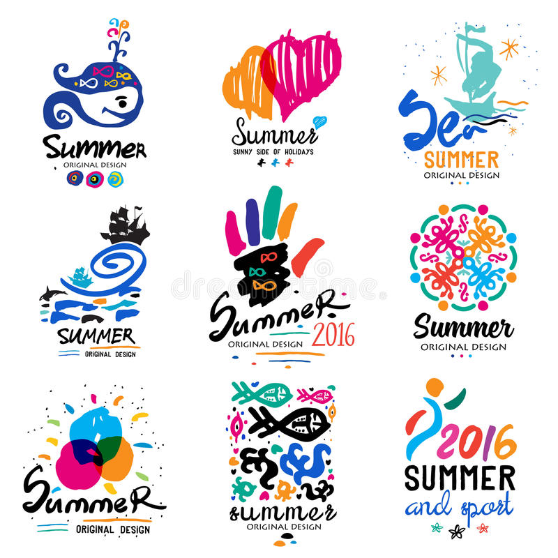 Logo för sommarsemester Det tropiska paradiset, helg turnerar, sätter på land semesterdesignbeståndsdelar stock illustrationer