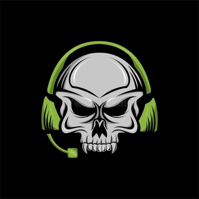 Logo för sport för skalleheadphone e stock illustrationer