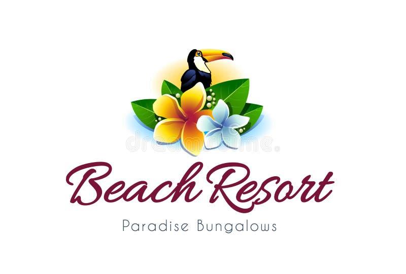 Logo för strandsemesterort stock illustrationer