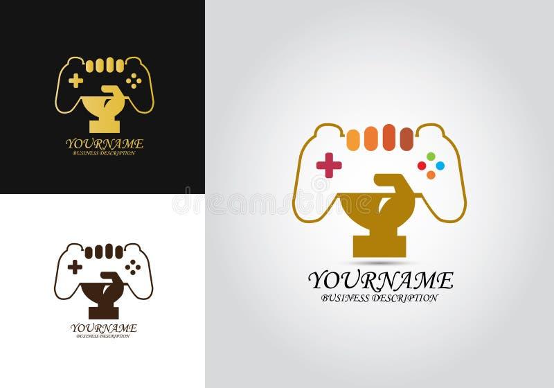 Logo för styrspakhandvektor vektor illustrationer