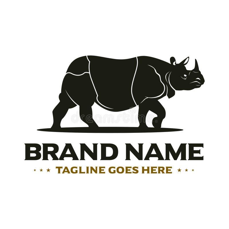 Logo för svart noshörning stock illustrationer