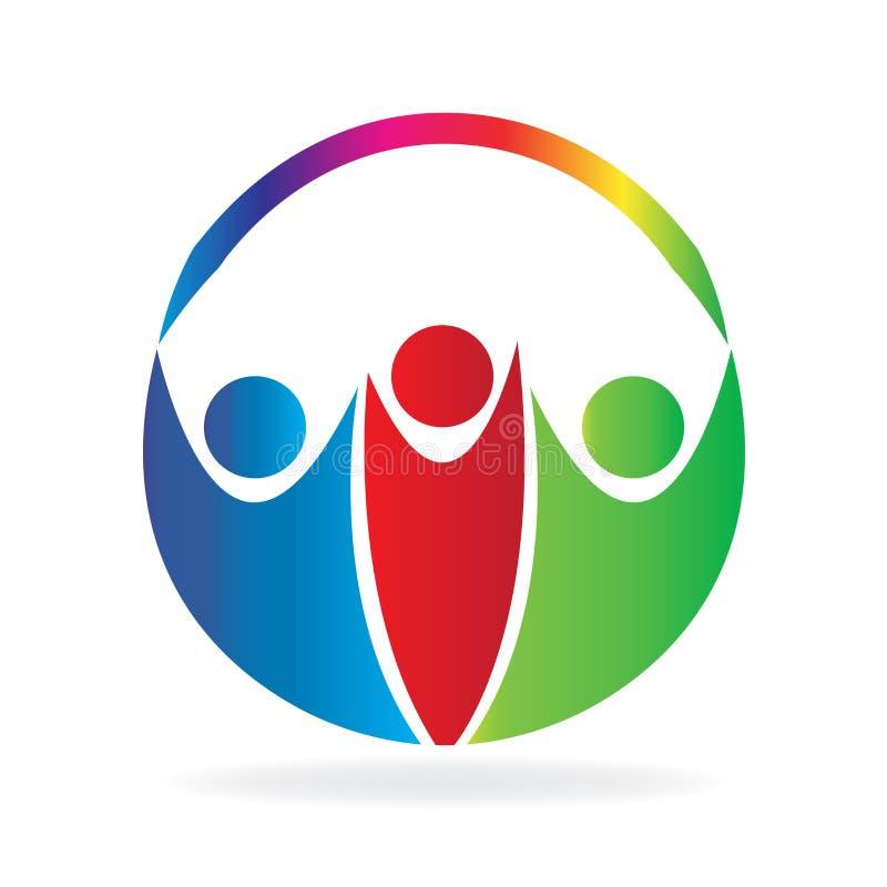Logo för symbol för cirkel för sunt folk för teamwork facklig royaltyfri illustrationer