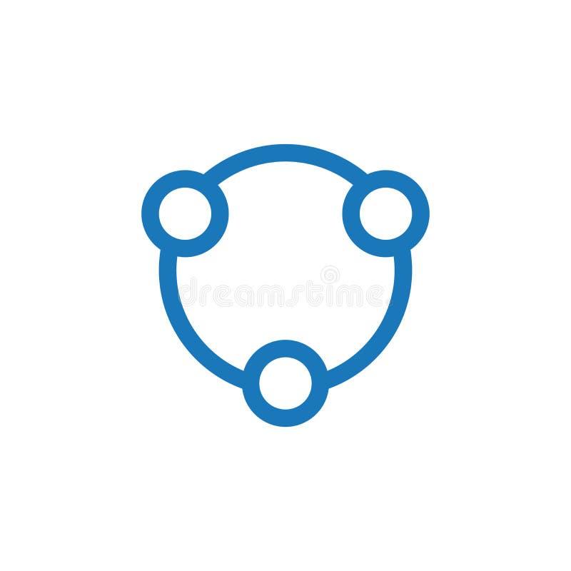 Logo för symbol för Teambuilding samkväm- och förhållandecirkel för socialt eller gemenskap Vektorillustration som isoleras p? vi stock illustrationer