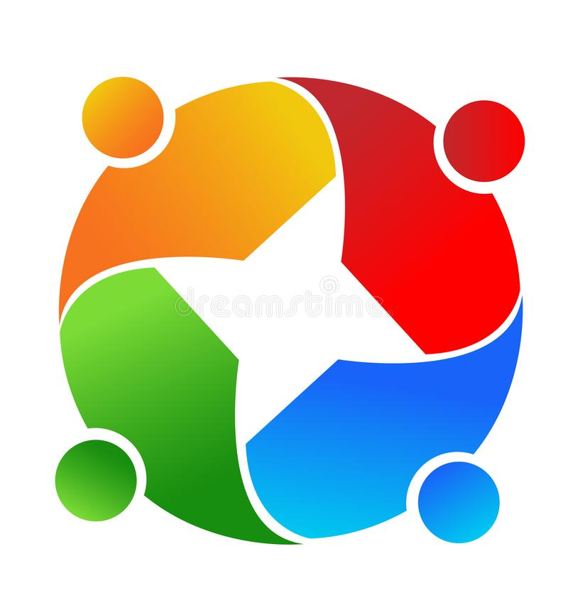 Logo för symbol för teamworkgruppmöte, diskussions- och planläggnings royaltyfri illustrationer