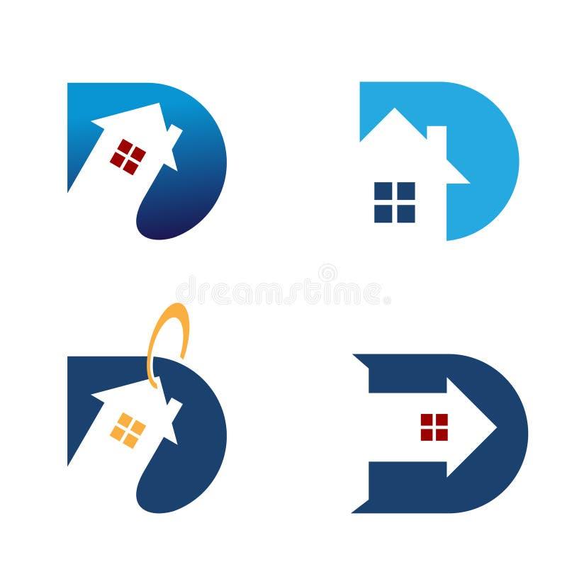 Logo för symbol för variation för etikett för försäljning för hus för D-bokstav hem- stock illustrationer