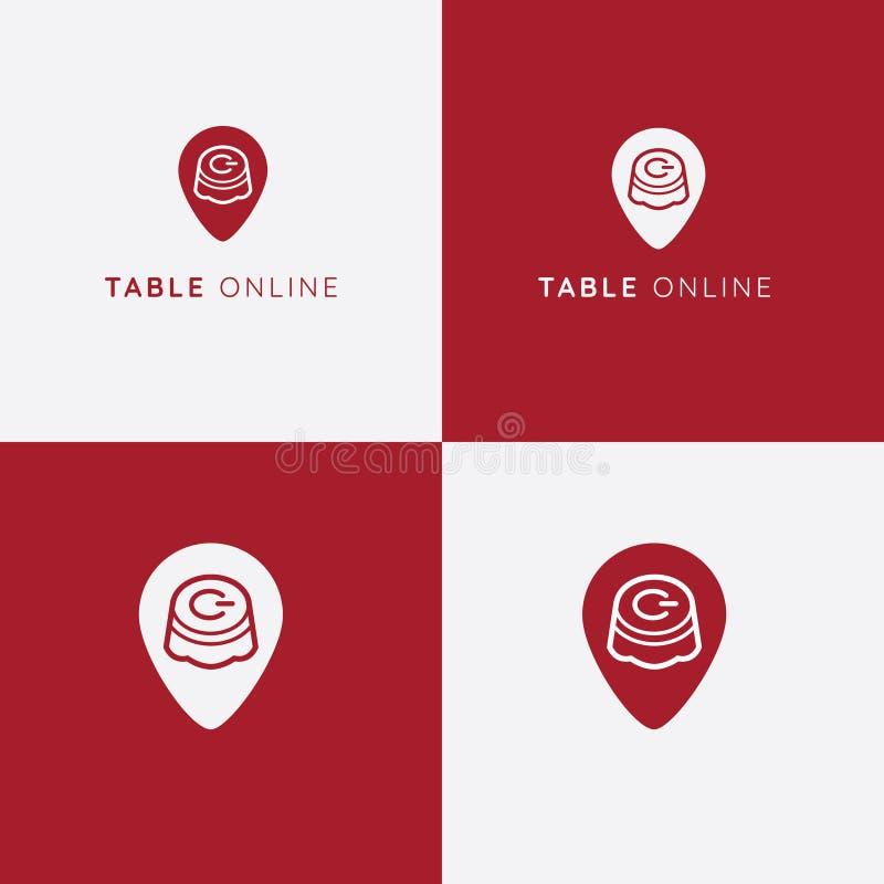 Logo för tabellreservationsvektor panera kallat klippa restaurangen för fotoet för mrcajevcien för meat för logoen för festivalma vektor illustrationer