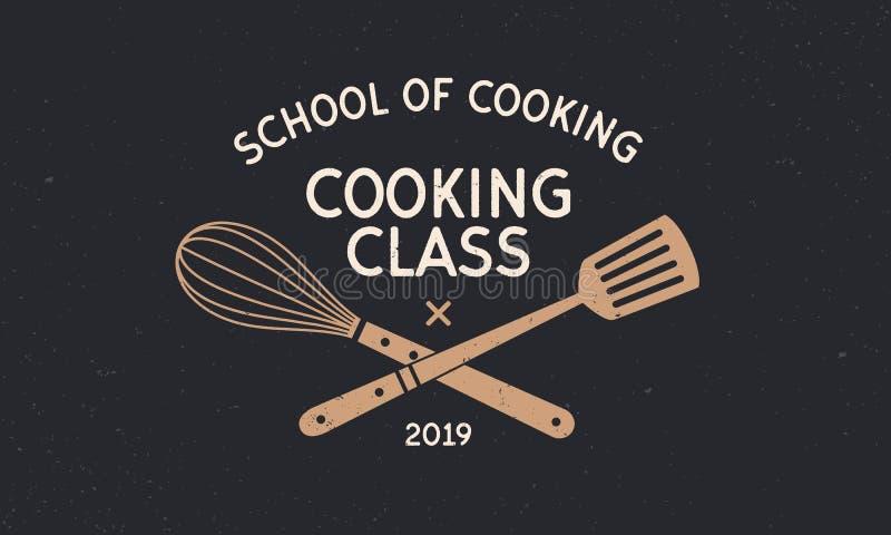 Logo för tappning för matlagninggrupp med grungetextur Skola av att laga mat mallemblemet Tappningdesignaffisch Etikett emblem, a royaltyfri illustrationer