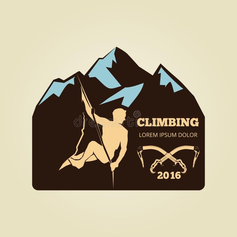 Logo för tappningbergklättring - sportaktivitetsemblem eller baner royaltyfri illustrationer