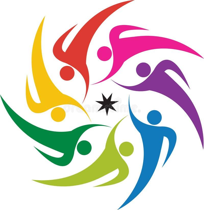 Logo för Teamworkarbete royaltyfri illustrationer