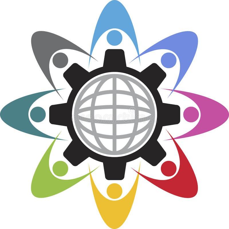 Logo för teamworkfabriksvänner stock illustrationer