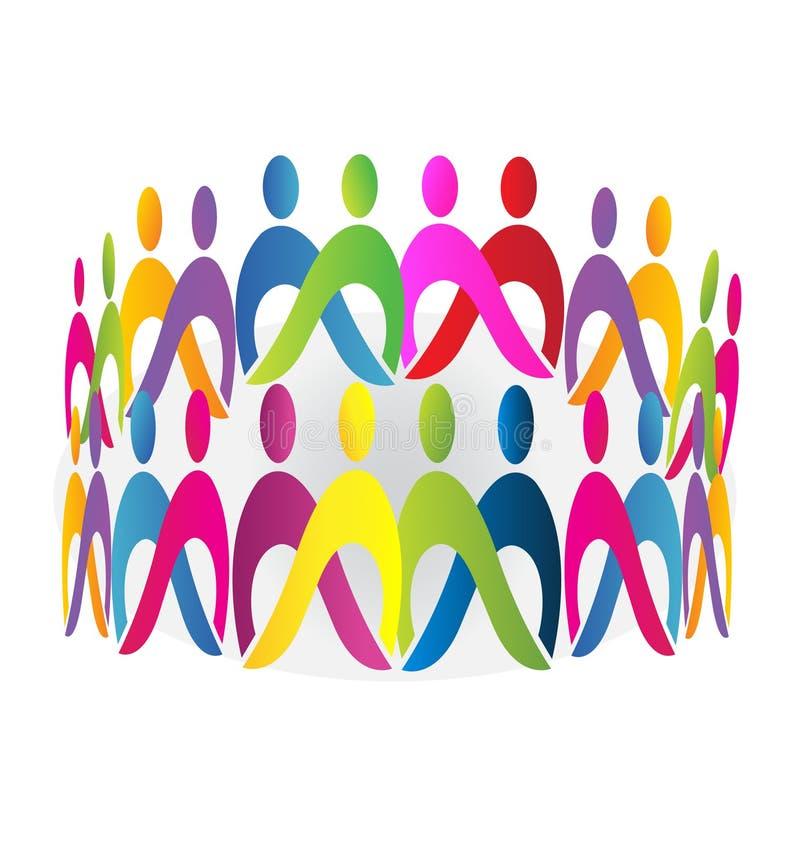 Logo för teamworkmötefolk fotografering för bildbyråer