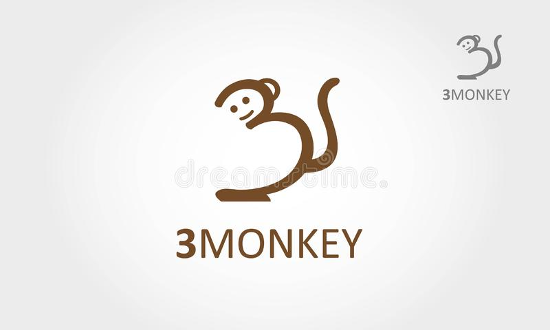 logo för tecknad film 3Monkey royaltyfri illustrationer