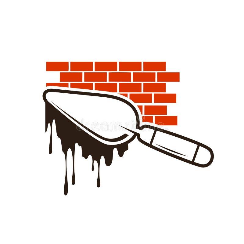 Logo för tegelstenkonstruktion stock illustrationer