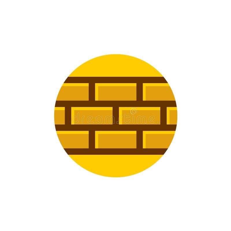 Logo för tegelstenvägg Del av en tegelstenvägg på en rund bakgrund royaltyfri illustrationer