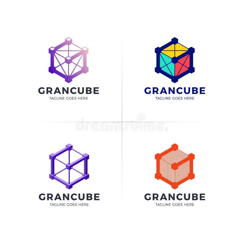 Logo för teknologi för G-företagskonstruktion, templa för servicebokstav 3D royaltyfri illustrationer