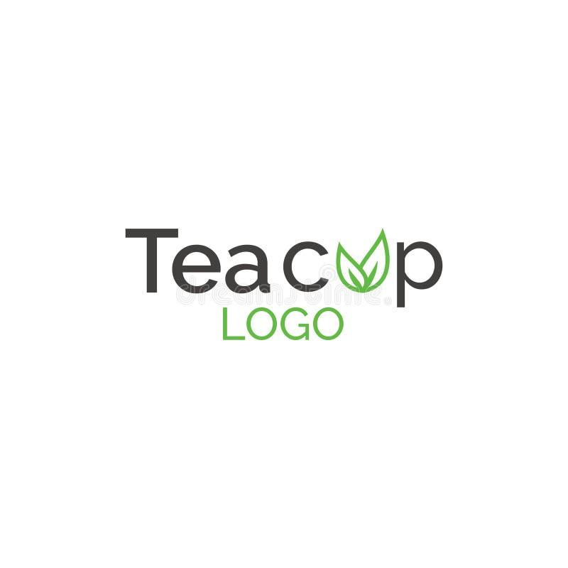 Logo för tekopp - dryck, teblad stock illustrationer
